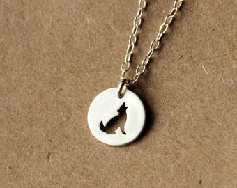 Sterling Silver Tiny Wolf Necklace - Handcrafted Silver Jewelry - Silver Necklace