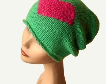 Slouchy Knit Hat - Beanie Hat - Cashmere Silk Hat - Baby Alpaca - Slouchy Hat - Green Beanie Hat - Green Hat - Women Hat - Slouchy Beanie
