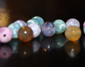 15 dyed natural fire agate beads, round faceted, 8 mm, hole 1 mm, beautiful natural stone, pink ,brown, black and gray