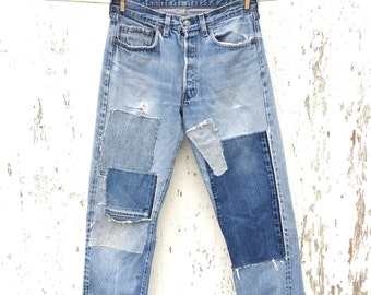 1970s LEVIS 501 Redline Jeans 30 Waist Patched Selvedge Denim