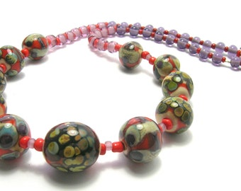 Moss Green/Orange Art Bead Necklace - Handmade Necklace