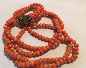 Vintage Coral 2 Strand Bead Necklace