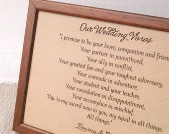 Leather Picture Wedding Vows Engraved On Real 3rd Anniversary Gift