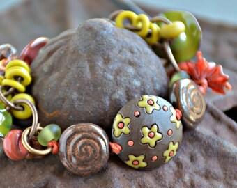 boho style, mixed media art you can wear, olive bracelet