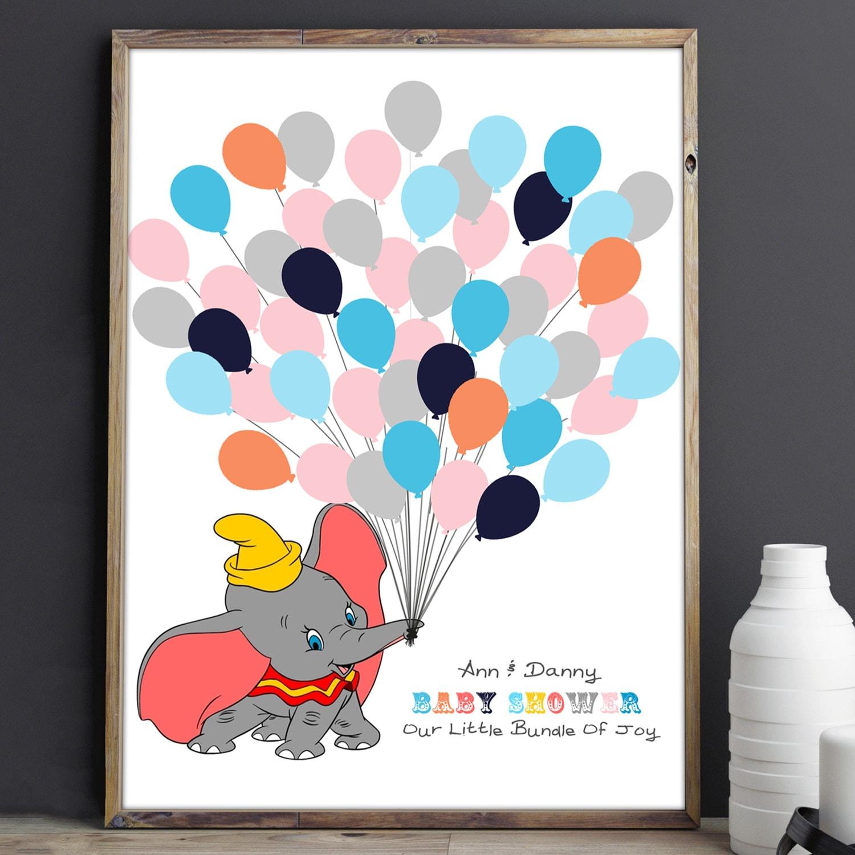 Disney Dumbo Baby Shower Guest Book Fingerprint Baby Shower