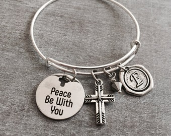 SALE, Peace be with you, Scripture, Faith, Religious, Christian, Bible Verse, Silver Bracelet, Silver Jewelry, Charm Bracelet, Gifts