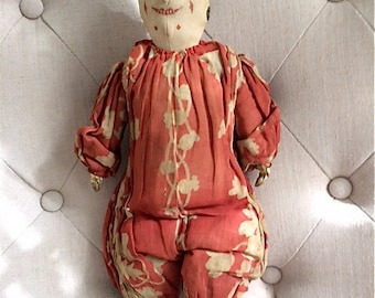 LAte 19th C Punch Clown Cloth Doll