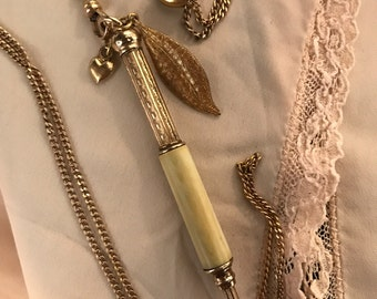 Victorian Valentine - Heart & Pencil Fob Necklace Assemblage pat. 1871