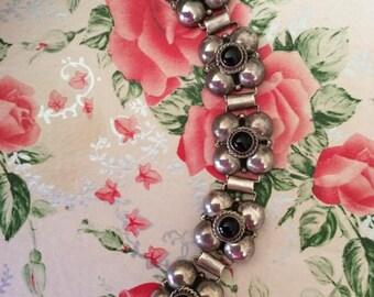 Vintage 1930s 1940s Bracelet Signed PARRA 925 Silver Black Onyx Art Deco Design Horacio de la Parra Designer Original Owner Conquistador