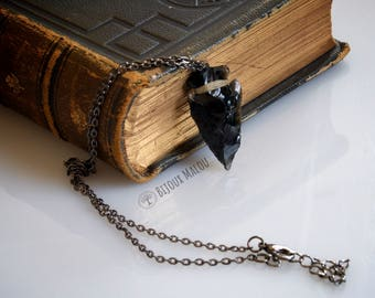 Gun Metal Obsidian Arrowhead Necklace Game of Thrones Dragon Glass Jewellery Fine Chain Arrowhead Jewellery Short Necklace