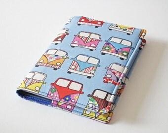 Notebook Cover, A6 Book Cover, Fabric Book Cover, Diary Cover, Planner Cover, Removable Book Cover, Campervan Fabric, UK Seller