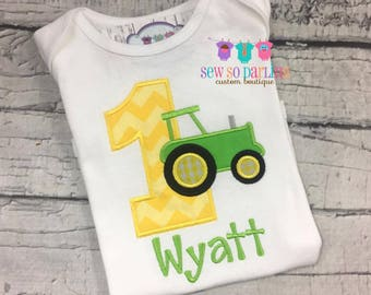 1st Birthday Tractor shirt - Baby Boy Birthday Tractor Outfit - 1st Birthday Farm Birthday Outfit - 1st Birthday Outfit