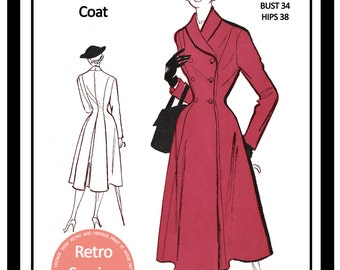 1950s Princess  Double Breasted Coat Sewing Pattern - Rockabilly - Pin Up - PDF Sewing Pattern - Instant Download