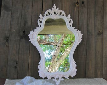 Shabby Chic Mirror, Pink, White, Nursery, Hand Painted, Pink Bliss, Syroco, Upcycled Vintage, Ornate, Baroque, Hanging, Wall, Wedding