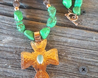 Lime Turquoise and Copper Cross Necklace