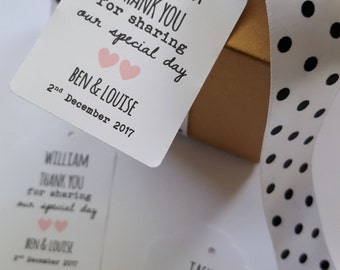Personalised Wedding Thank you Favour Tags with name of Guest/ Custom Wedding Favours - Set of 25 - WFT01