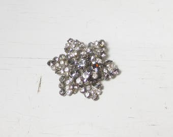 Large Pronged Rhinestone Brooch Grey Clear Vintage Victorian Style Jewelry Aurora Borealis