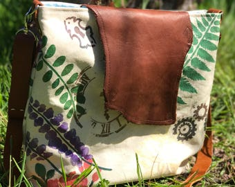 Vintage Summer Floral Steampunk, Hand Painted, Bag