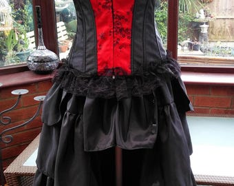 boned satin corset and frilled bustle skirt matching lace necklace day of the dead dracula bride zombie steampunk gothic victorian dress