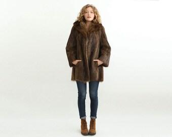 Exquisite Chic 60's Beaver Fur Coat in Brown Tones,  Authentic Fur Swing Coat / Size Medium