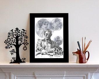 James Bond inspired Illustration Print, Casino Royale, James Bond Art, Art Print, Celebrity Art, London Art, Portrait
