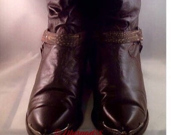 Vintage Leather Boots, Gift for Her, Chocolate Brown, Women's Vintage, Western, Cowgirl, Ankle, Women's Boots, Made In the USA