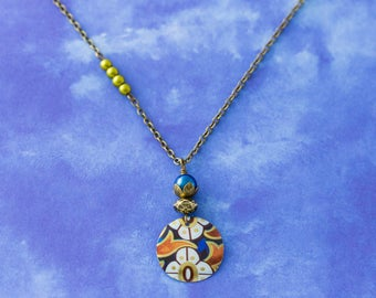 Floral Flower Vintage Tin Pendant Asymmetrical Charm Necklace with Cobalt Blue and Green Beads and Antique Brass Chain Jewelry