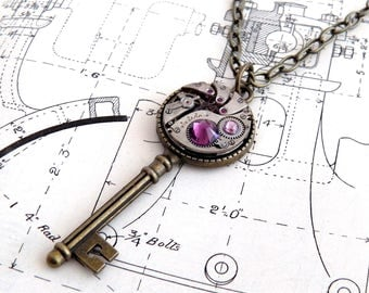 Steampunk Key Watch Necklace / Pendant. Vintage Watch Movement & Amethyst Crystals. Jamlincrow