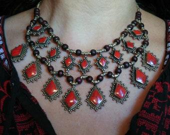 Vintage Style Coral Kuchi Tribal Necklace - Afghani Ethnic Boho Gypsy Statement Necklace