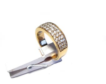 Ring silver ring gold gold plated plated sterling silver cubic zirconia Gr. 59 US size, 8.7 UK size R