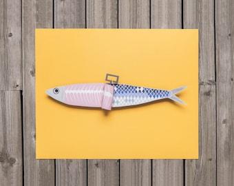 Paper Art Sardine Print, Papercraft Sardine, papercut, 3d papercraft, papercut art print, papercutting, Poster, wall art, kitchen art