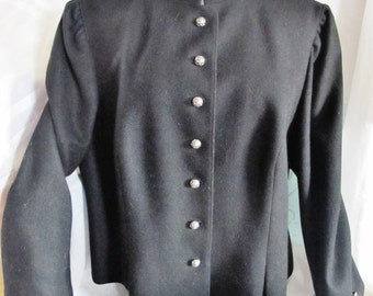 Vint Austrian TRACHTEN JACKET, Lodenfrey, Black Wool, Silvertoned Rose Buttons, Pleats, Size 10