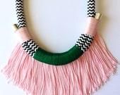 Makena Neckpiece || Blush Pink Green Chevron Fringed Tribal African Boho Rope Statement Necklace