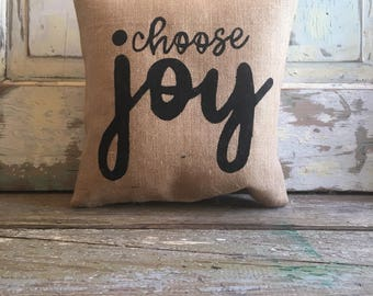 Pillow Cover | Choose Joy pillow | Burlap pillow | Bedroom decor | Bedroom pillow| Gift for Couple | Gift for Mom | Inspirational Gift
