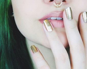 Solid Gold Septum Jewelry, Gold Septum Ring, Gold Nose Ring, Gold Septum Ring 16g, Gold Septum Ring 14g, Septum Nose Ring, Tribal Septum