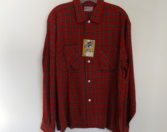 50's Shirt Red Rayon Plaid Dead Stock Large Camp Shirt