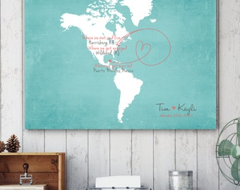 "Wedding Guest Book Alternative Map, North and South America Map, South America, North America, sizes 5"" x 7"" up to 30"" x 40"""