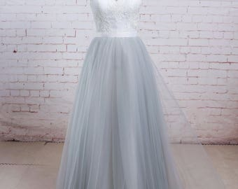 Airy Dusty Blue Tulle A Line Beach Wedding Dress with Sweetheart Neckline Boho Lace Wedding Dress Summer Wedding Dress