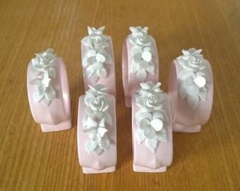 6 baby pink napkin rings bone china by royal adderley / free shipping