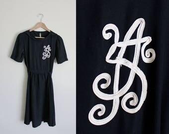 1940s Monogram Dress | Black Dress | Rayon Dress | Small