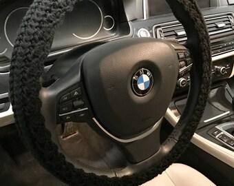Steering wheel cover car cozy Decor crochet knit accessories car gift black