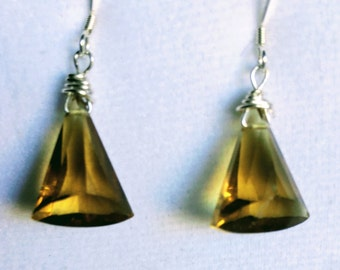 Beer Quartz and Sterling Silver Earrings