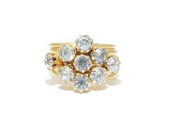 Vintage Rhinestone Ring, Bands, Gold Tone, Size 6