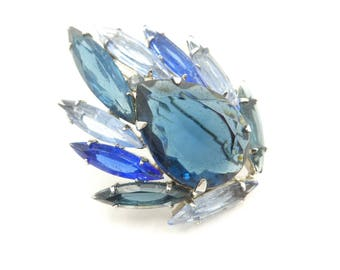 Vintage Blue Rhinestone Brooch, Faceted Glass, Silver Tone, Juliana Style