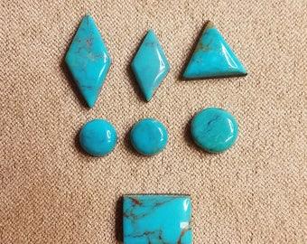 Blue Pilot Mountain Turquoise Cabochon Set/ backed/circle/triangle/diamond