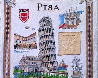 Pisa Souvenir Italian Print Large Kitchen Tea Towel - 100% Cotton