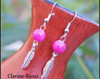 Leaf Earrings, Silver Beaded Earrings