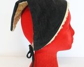 Vintage 1960's Black Velvet Sherpa Lined Triangle Head Scarf Hat