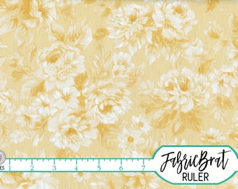 YELLOW ROSE Fabric by the Yard Fat Quarter Shabby Chic Roses Fabric Floral Fabric Quilting Fabric Apparel Fabric 100% Cotton Fabric w8-17