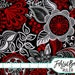 RED AND BLACK Floral Fabric by the Yard Fat Quarter Red Geometric Flower Fabric 100% Cotton Quilting Fabric Apparel Fabric Yardage a3-41